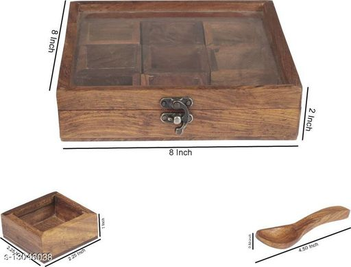 Wooden Masala Box with 9 bowls in Sheesham - 8 x 8 x 2 Inch - Export Quality