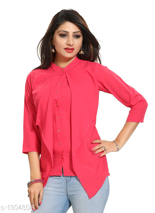 Women's Solid Pink Polyester Top