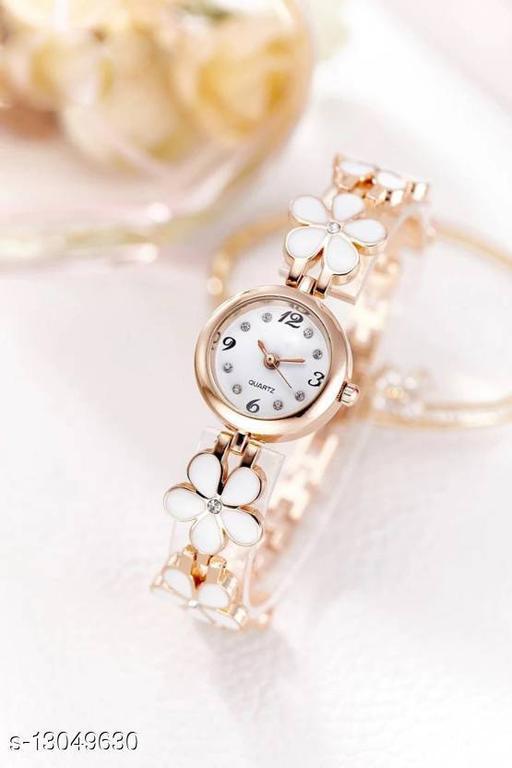 MissPerfect Rishtey Bracelet Flower Pattern White Analog Watch For Women And Girls