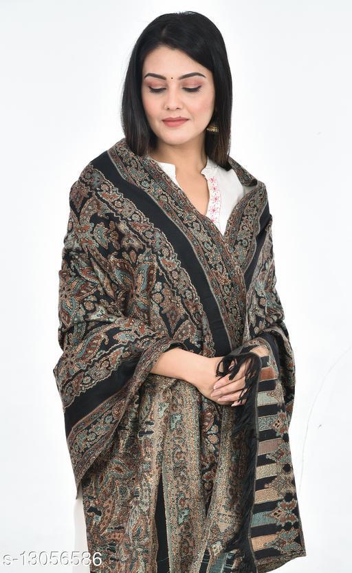 Women's Kashmiri Jamawar Shawl, Soft Faux Pashmina Wool (Black Color)