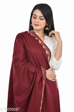 Women's Border Kashmiri Kingri with Machine Embroidery Shawl, Wraps (New Maroon)