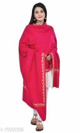 Women's Border Kashmiri Kingri with Machine Embroidery Shawl, Wraps (Pink)