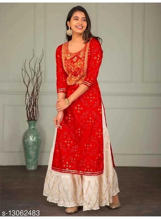 Women's Printed Festive Wear Kurta Set with Sharara