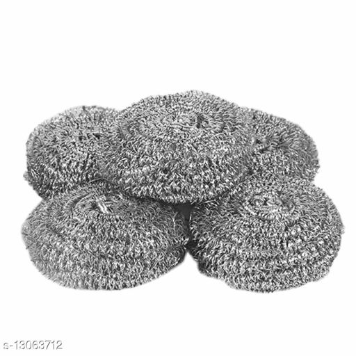 Stainless Steel Round Ball Scrubber and Sponges Washing Brush pad for Kitchen (Pack of 6)
