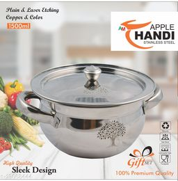 Stainless Steel Apple Handi With Laser set of 1 piece Size 1500 ML