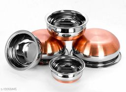 Stainless Steel Copper Bottom Handi set of 5 piece(1750 ML, 1450 ML, 950 ML, 700 ML, 400 ML)