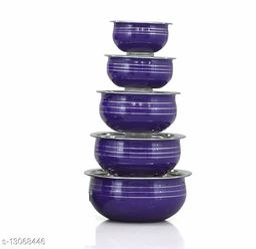 Stainless Steel Blue Color Handi set of 5 piece(1750 ML, 1450 ML, 950 ML, 700 ML, 400 ML)