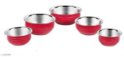 Stainless Steel Red Color Handi/Pot Pan/Cookware set of 5 piece(1750 ML, 1450 ML, 950 ML, 700 ML, 400 ML)