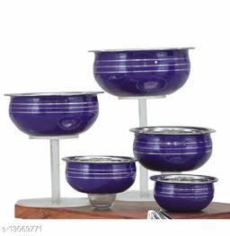 Stainless Steel Blue Color Handi/Pot Pan/Cookware set of 5 piece(1750 ML, 1450 ML, 950 ML, 700 ML, 400 ML)