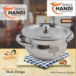 Stainless Steel Apple Handi With Laser design set of 1 piece Size 1500 ML