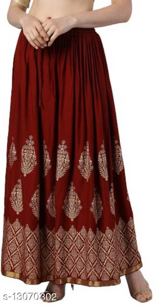 Printed Rayon Straight long Skirt for women/Girls