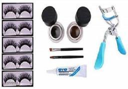 NNBB 5 Pair Eyelash, Glue, Curler, Gel Eyeliner Black and Brown pack of 5 (5 Items in the set) (5 Items in the set)