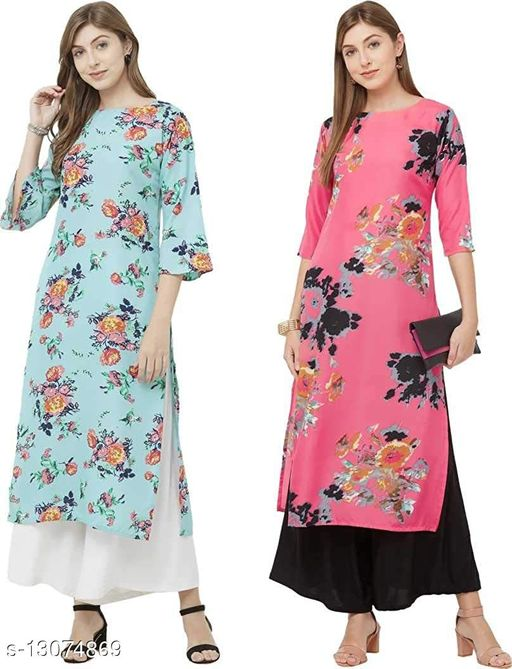 Anni Collections Skyblue & Pink Color Crepe Printed Straight Cut Kurti (Merissa_Combo8_L)