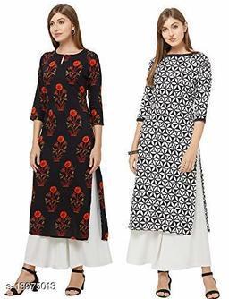 Anni Collections Black & White Color Crepe Printed Straight Cut Kurti (Merissa_Combo5_L)
