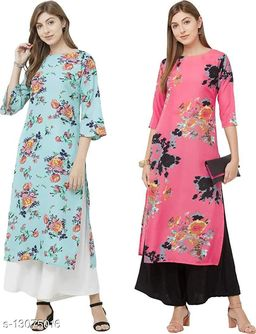 Anni Collections Skyblue & Pink Color Crepe Printed Straight Cut Kurti (Merissa_Combo8_M)