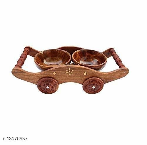Wooden Serving Set (Set of 2 Bowl with 1 Trolly Tray)