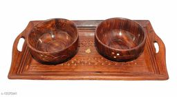 Wooden Serving Set (Set of 2 Bowl with 1 Tray)