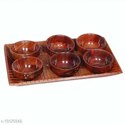 Wooden Serving Set (Set of 6 Bowl with 1 Tray)