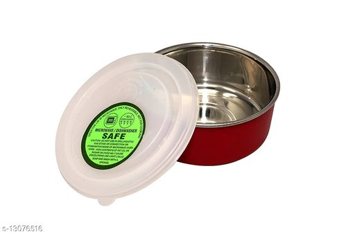Betools4Me2 Stainless Steel Microwave Safe Bowl with LID (RED Color 300 ml)-Set of 2