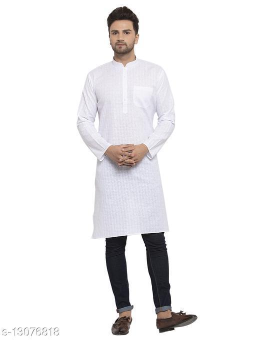 Kraft India Men's Cotton Blend White Checked Long Kurta