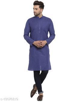 Kraft India Men's Cotton Blend Navy Blue Checked Long Kurta