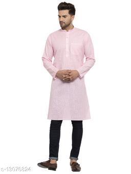 Kraft India Men's Cotton Blend Pink Checked Long Kurta