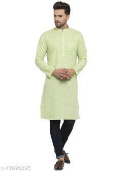 Kraft India Men's Cotton Blend Lime Green Checked Long Kurta