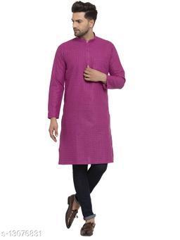 Kraft India Men's Cotton Blend Magenta Checked Long Kurta