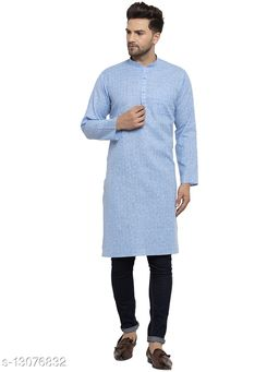 Kraft India Men's Cotton Blend Blue Checked Long Kurta