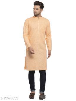 Kraft India Men's Cotton Blend Peach Checked Long Kurta