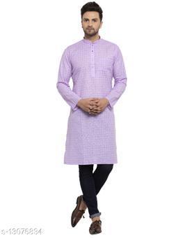 Kraft India Men's Cotton Blend Purple Checked Long Kurta