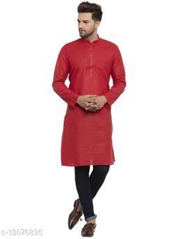Kraft India Men's Cotton Blend Red Checked Long Kurta