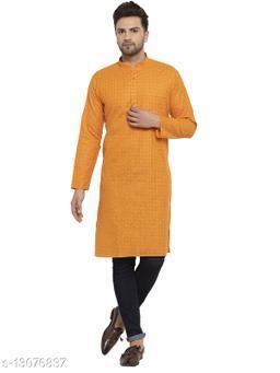 Kraft India Men's Cotton Blend Orange Checked Long Kurta