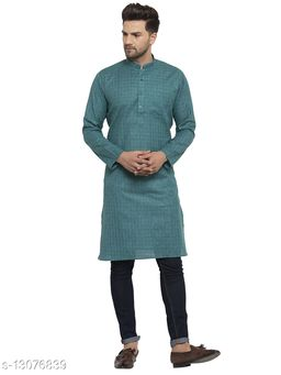 Kraft India Men's Cotton Blend Dark Green Checked Long Kurta