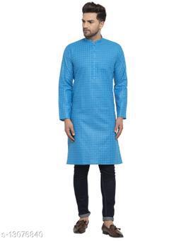 Kraft India Men's Cotton Blend Peacock Blue Checked Long Kurta