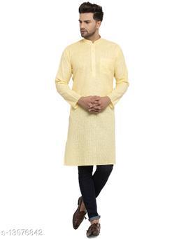 Kraft India Men's Cotton Blend Yellow Checked Long Kurta