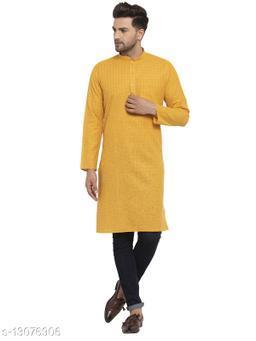 Kraft India Men's Cotton Blend Mustard Checked Long Kurta