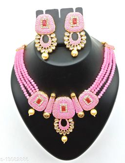 Crystal Peal Pink Mino Square Red Stone Kundan Choker Set
