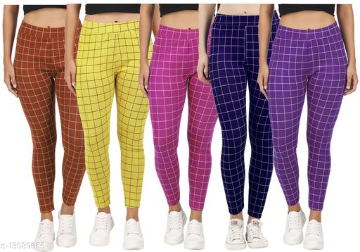 Just Live Fashion® Womens Checkered Pattern Ankle Length Tights Multicolour Combo (Pack of 5) Free Size (Best Fit to the Hip Size 28 inch to 34 inch)
