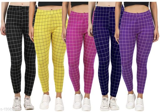 Just Live Fashion? Womens Checkered Pattern Ankle Length Tights Multicolour Combo (Pack of 5) Free Size (Best Fit to the Hip Size 28 inch to 34 inch)