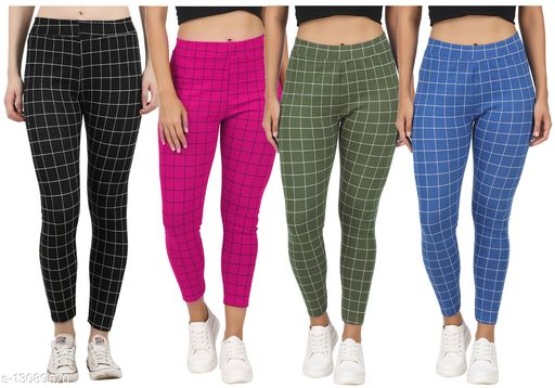 Just Live Fashion® Womens Checkered Pattern Ankle Length Tights Multicolour Combo (Pack of 4) Free Size (Best fit to the Hip Size 28 inch to 36 inch)