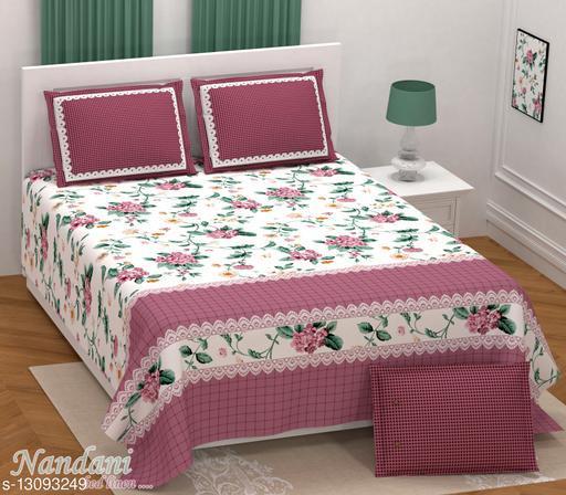 Sanganeri cart Twil cotton 250 TC printed King size 100x108 bedsheets