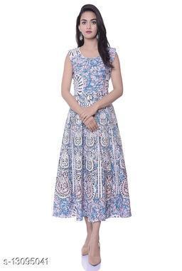 Women's  cotton Printed  sleeveless Srep Neck Casual Dress