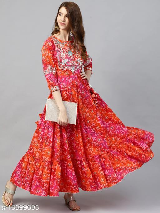 Ishin Women's Rayon Red Bandhani Print Embellished Anarkali Kurta