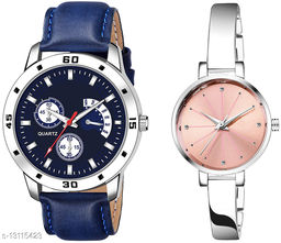 K144 & L781 Attractive Combo With One Leather Belt Watch And New Atterective watch For jewellery & Women