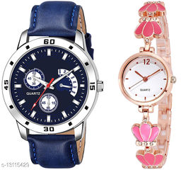 K144 & L792 Attractive Combo With One Leather Belt Watch And New Atterective watch For jewellery & Women