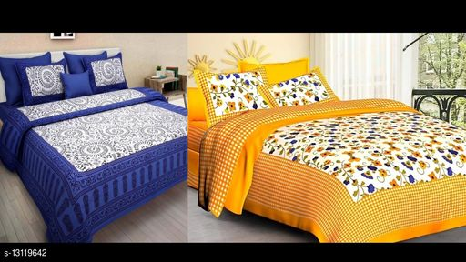 Cotton Double Bed Bedsheet Combo Pack 2 Bedsheet with 4 Pillow Cover