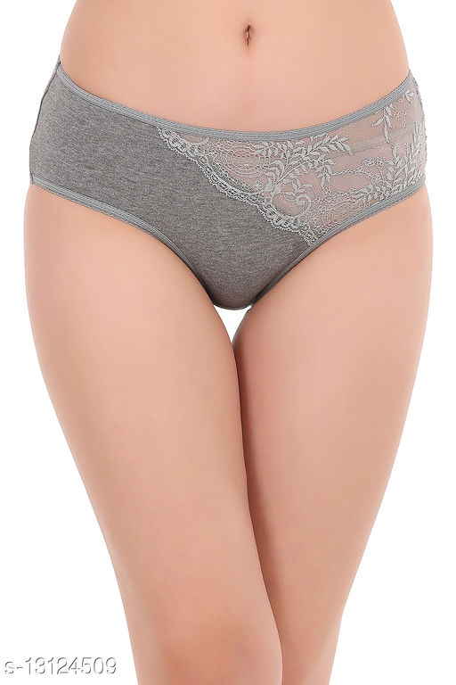 Cotton Mid Waist Hipster Panty with Lace Panel