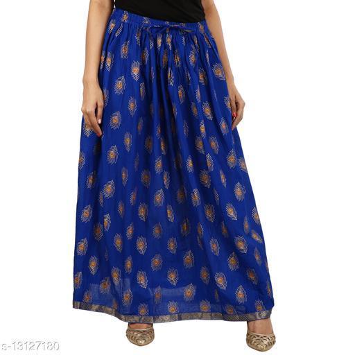 Cotton Gold printed Straight long Skirt for women/Girls (Free Sizes)