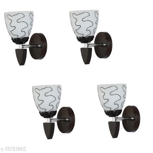 Decorative Wall Lamp Light Glass Wall Light Black - Pack of 4